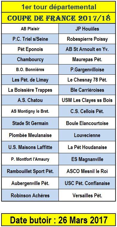 Coupe de France 2017/2018: 1er tour départemental