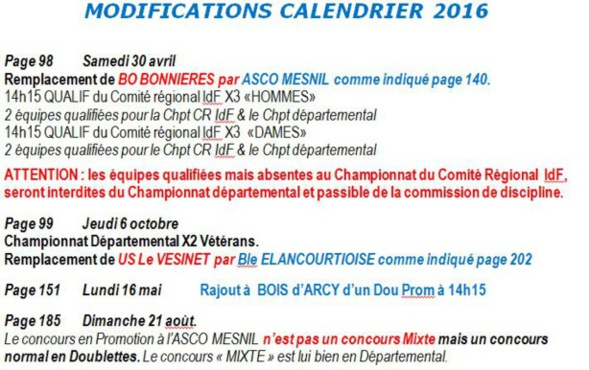 Modifications du calendrier