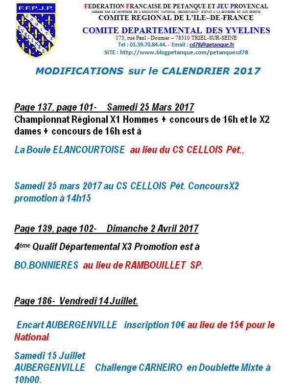Modifications de calendrier