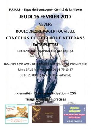 CONCOURS VETERANS LE 16 FEVRIER BOULODROME NEVERS