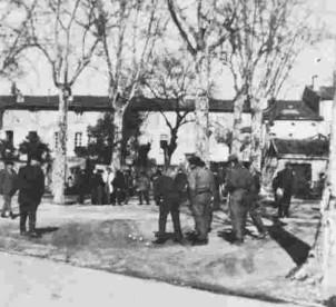 La pétanque Place des Marronniers à Montauban en 1970
