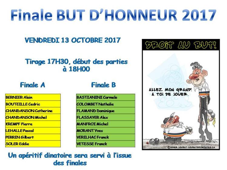 FINALE BUT D'HONNEUR LE VENDREDI 13 OCTOBRE