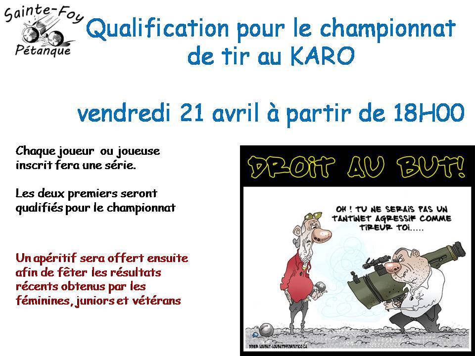 QUALIFICATIF CHAMPIONNAT DE TIR LE 21 AVRIL AU KARO