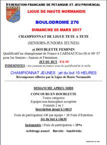 Affiche Championnat Ligue TaT Masculin et Doublette Féminin du Dimanche 5 Mars
