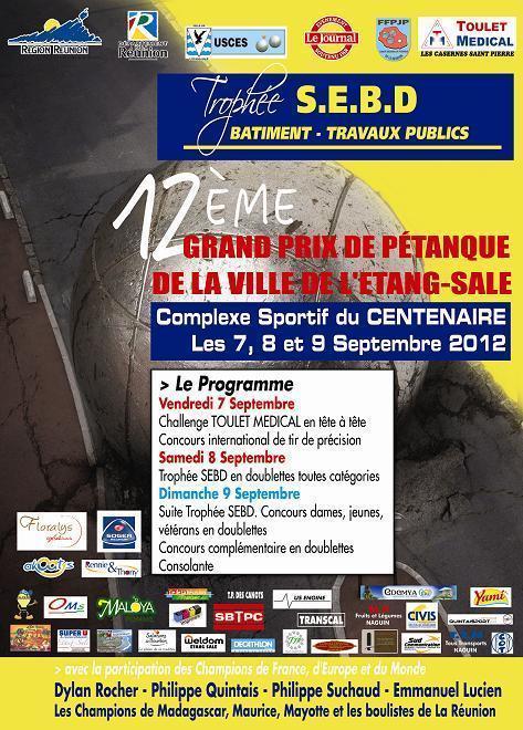 L'AFFICHE DU 12EME GRAND PRIX PETANQUE DE LA VILLE DE L'ETANG SALE 2012
