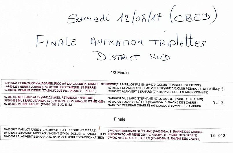 FINALE DISTRICT SUD TRIPLETTES