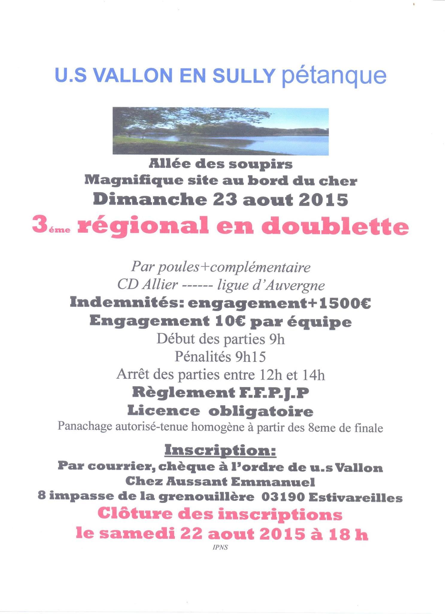 Affiche Régional Doublette le 23 aout 2015