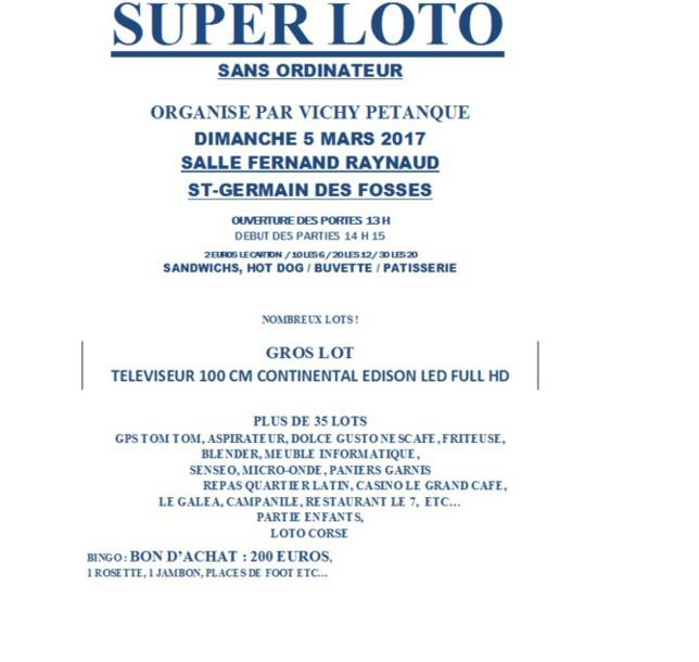 SUPER LOTO DIMANCHE 5 MARS 2017  A ST GERMAIN DES FOSSES