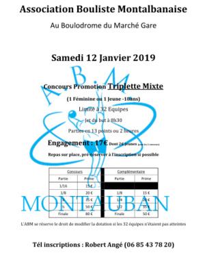 Concours Triplette Mixte du 12 Janvier 2019