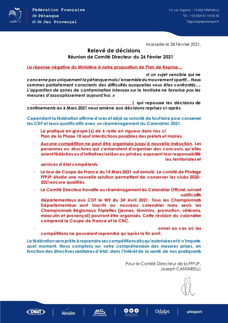 Communiqué Relevé de Décisions - 27 Février 2021