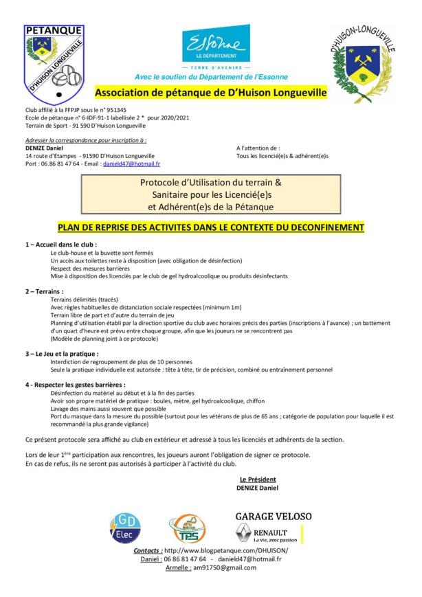 Protocole d'utilisation du terrain municipal