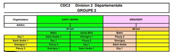 calendrier du cdc équipe 2  et équipe 3 et crc équipe 1