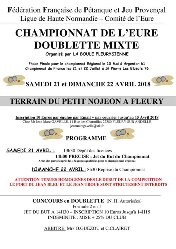 Championnat de l'Eure doublette Mixte à Fleury sur Andelle Affiche + feuille d'inscription