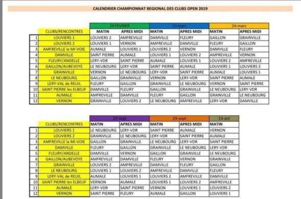 Calendrier CRC 2019 pour l'équipe 1