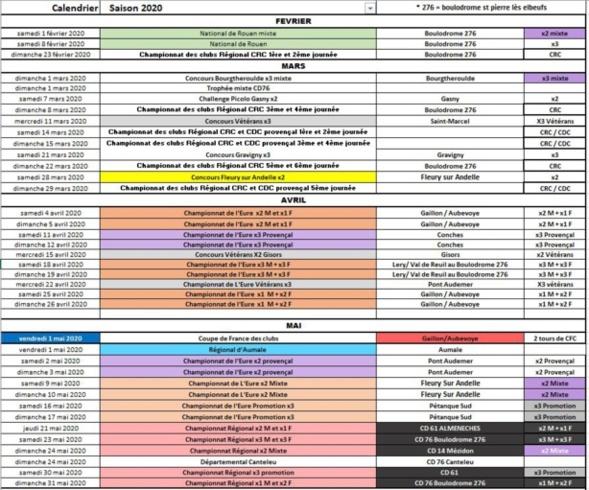 Première info calendrier 2020