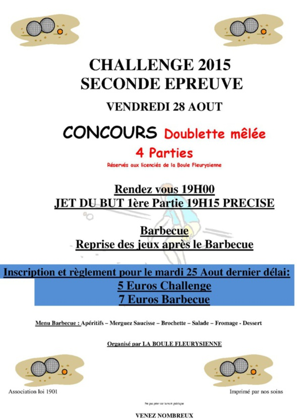 Date 2ème épreuves du challenge 2015