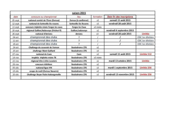 calendrier fin saison 2015