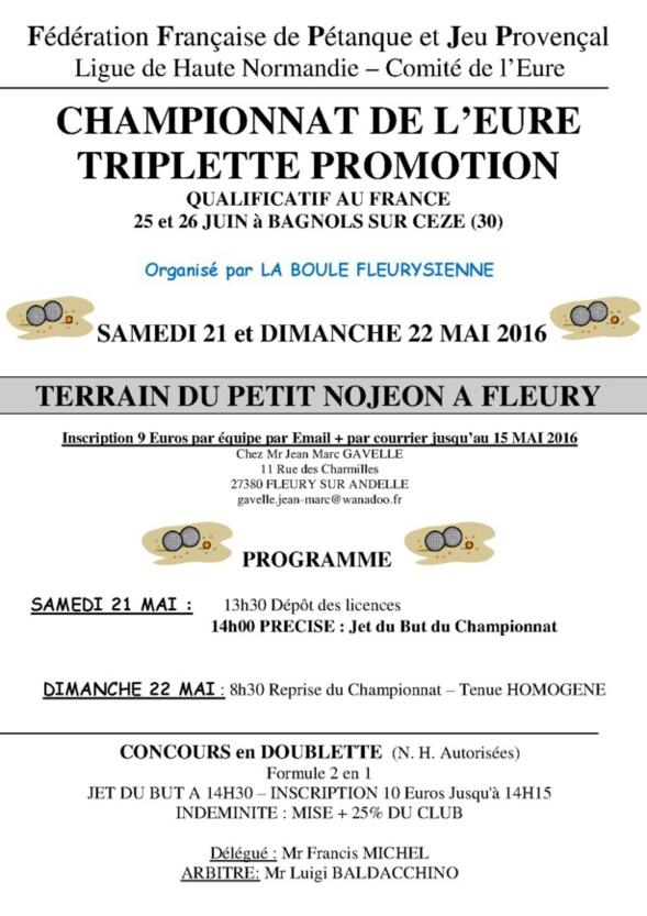 affiche championnat de l'Eure promotion à Fleury