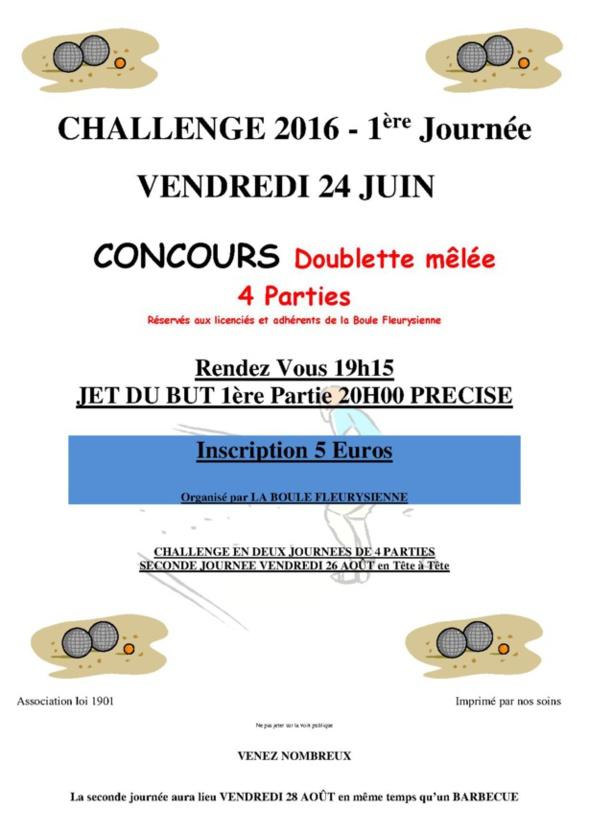 1ère épreuve du challenge 24 juin 2016