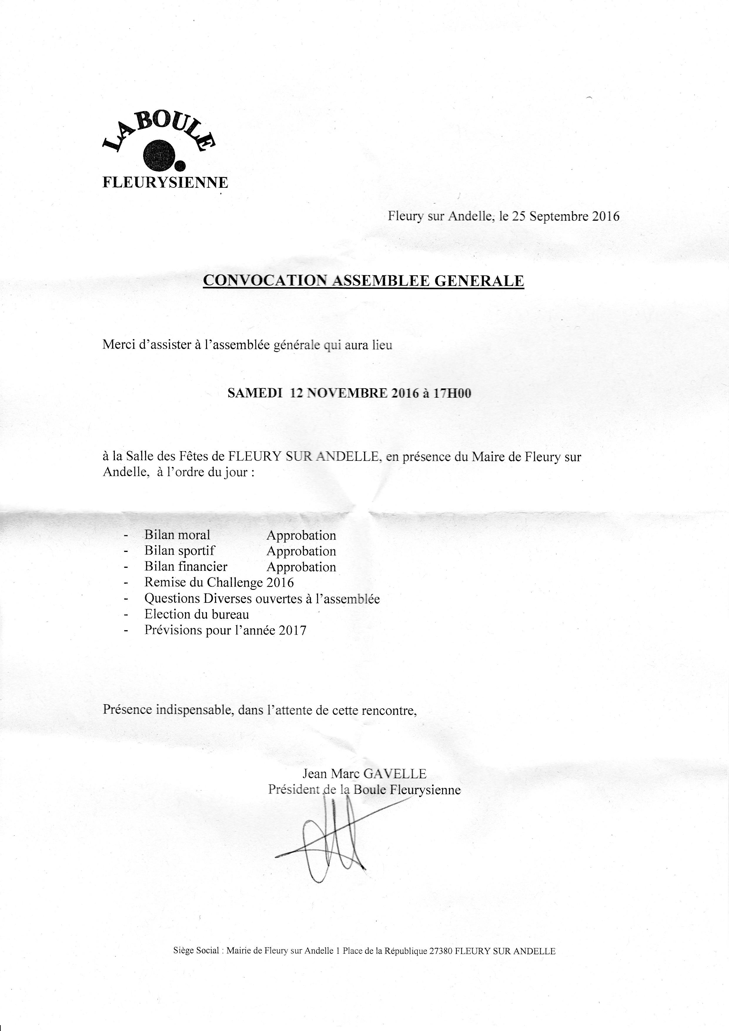 Assemblée général 12/11/2016