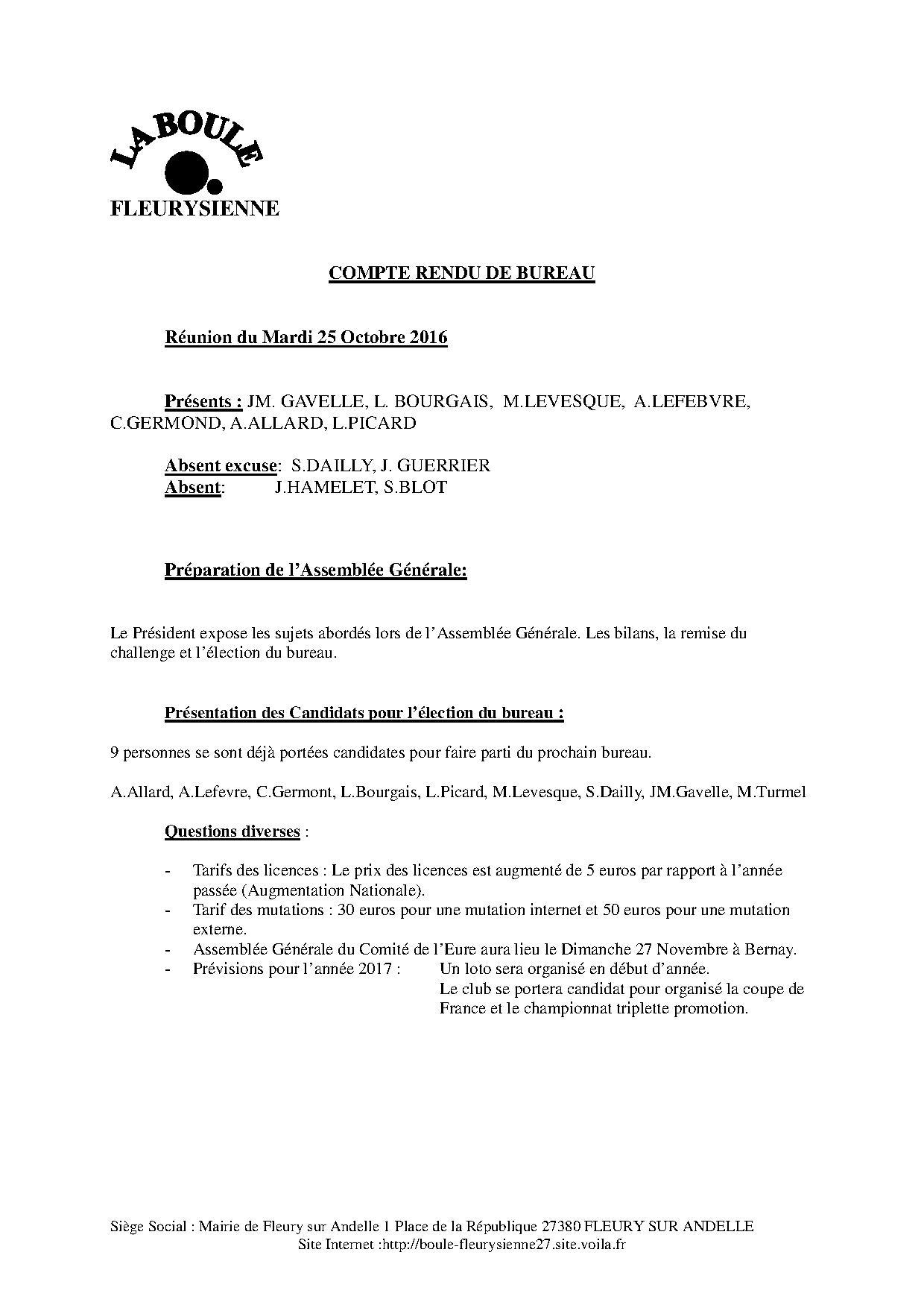 Compte rendu de la réunion de bureau du 25/10/2016