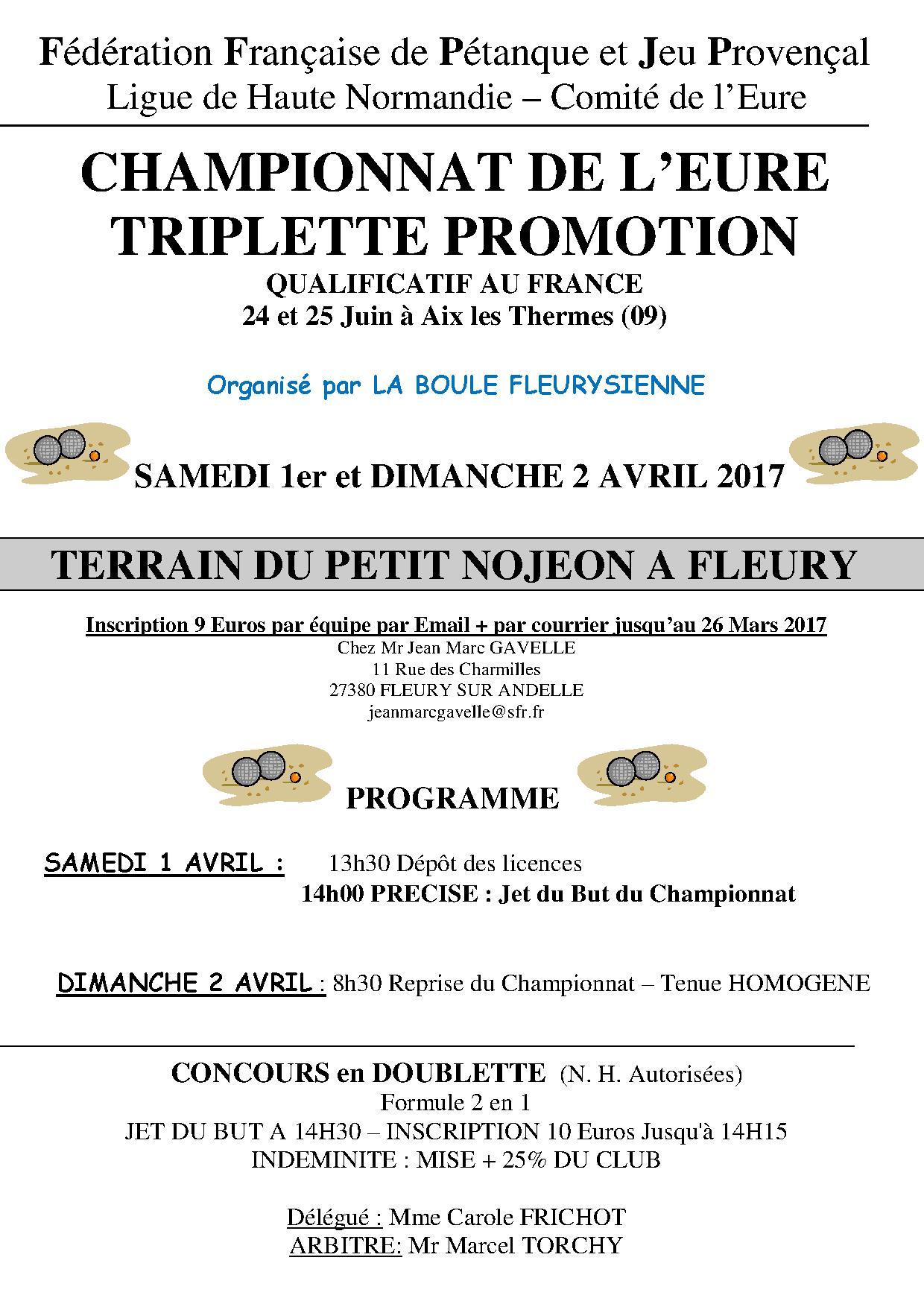 Championnat de l'Eure promotion 2017  1 et 2 avril