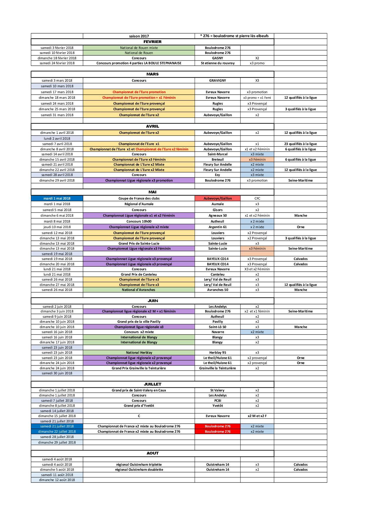 Calendrier saison  2018