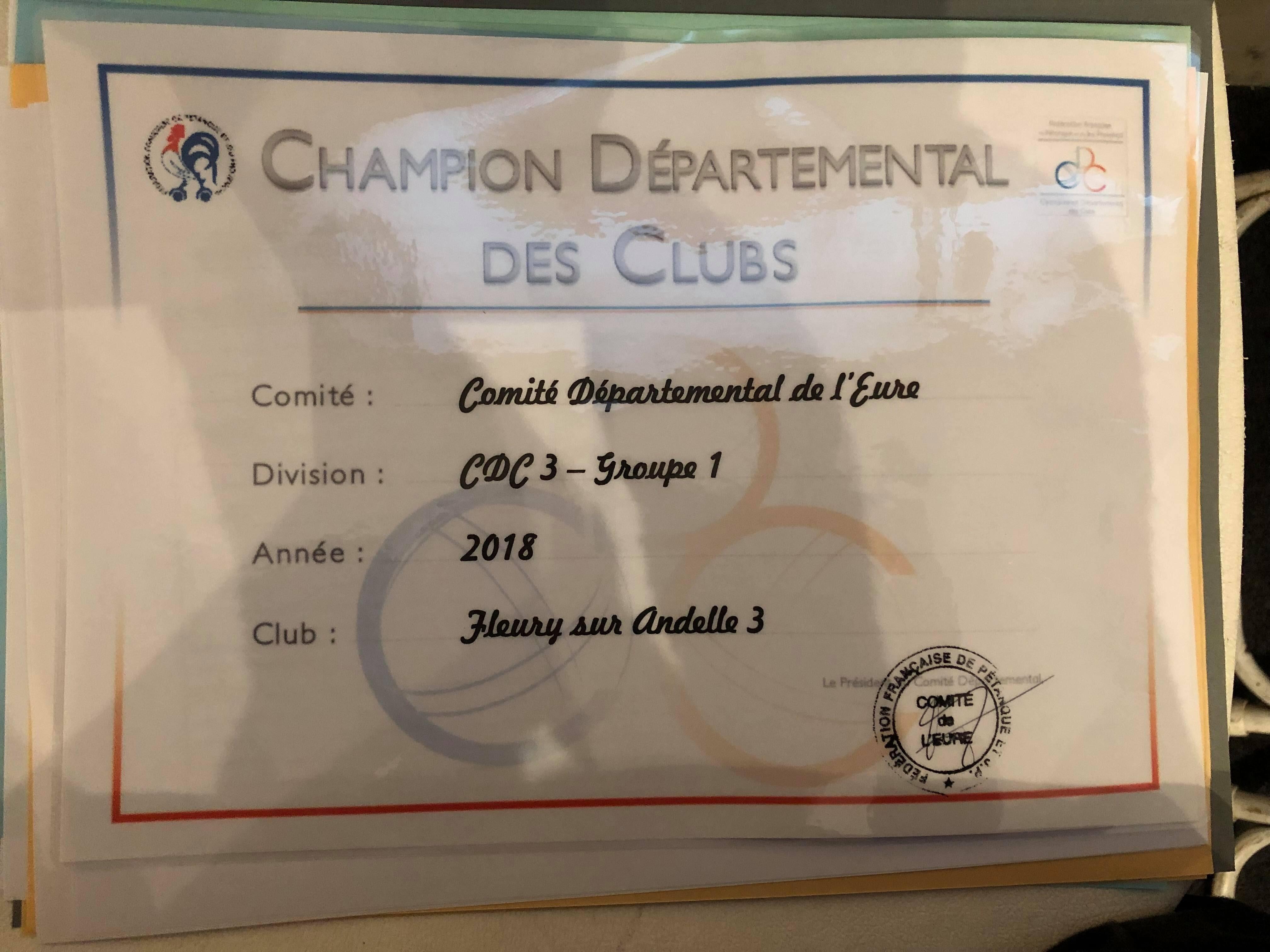 Diplôme de champion départemental division 3