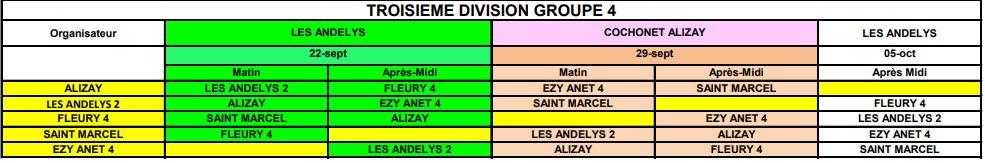 Calendrier CDC des équipes 2 3 et 4