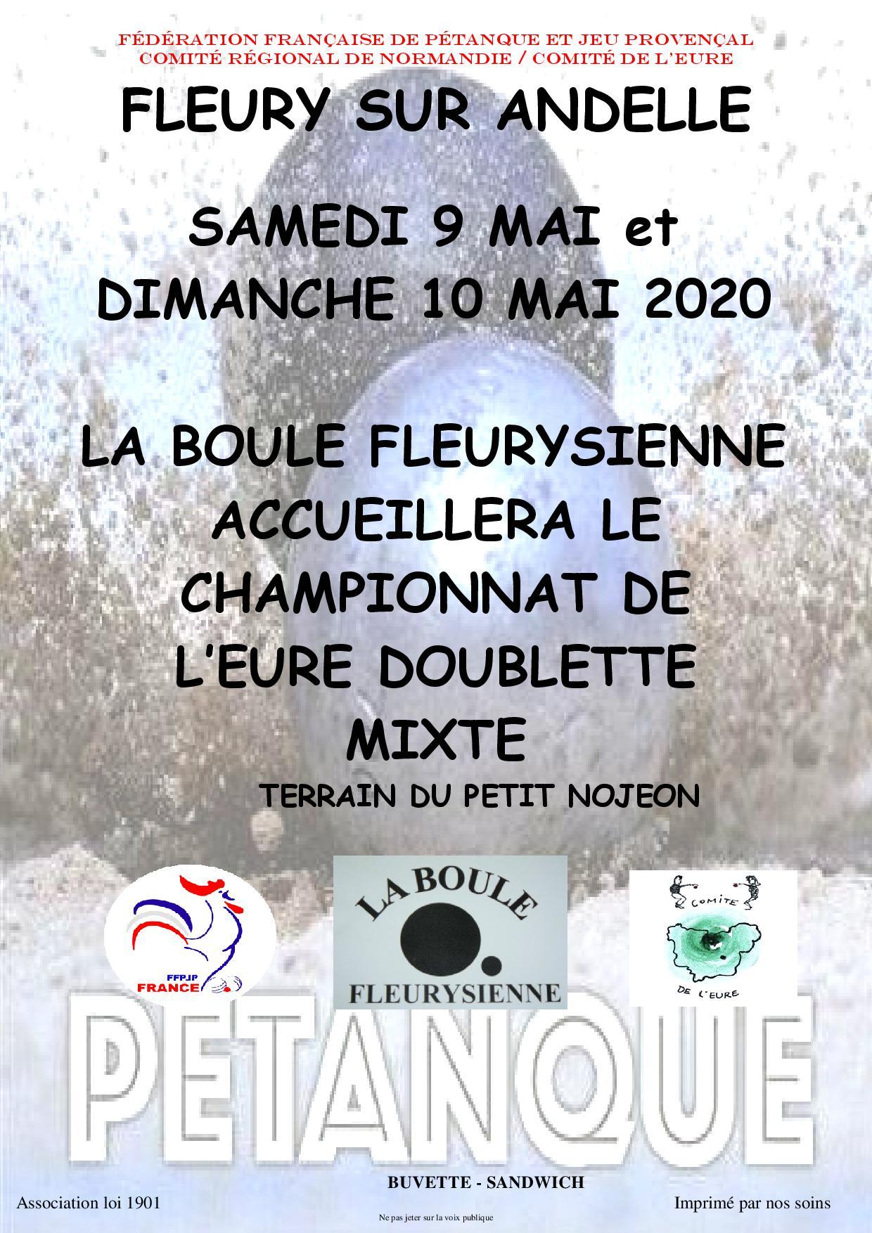 Championnat de l'eure mixte 9 et 10 mai 2020