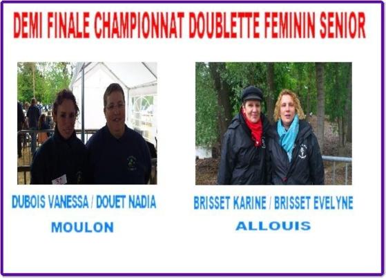 DEMI FINALE FEMININ CHAMPIONNAT DOUBLETTE FEMININ