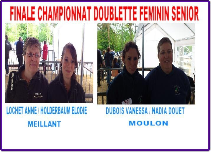 FINALE DU CHAMPIONNAT DOUBLETTE FEMININE SENIOR