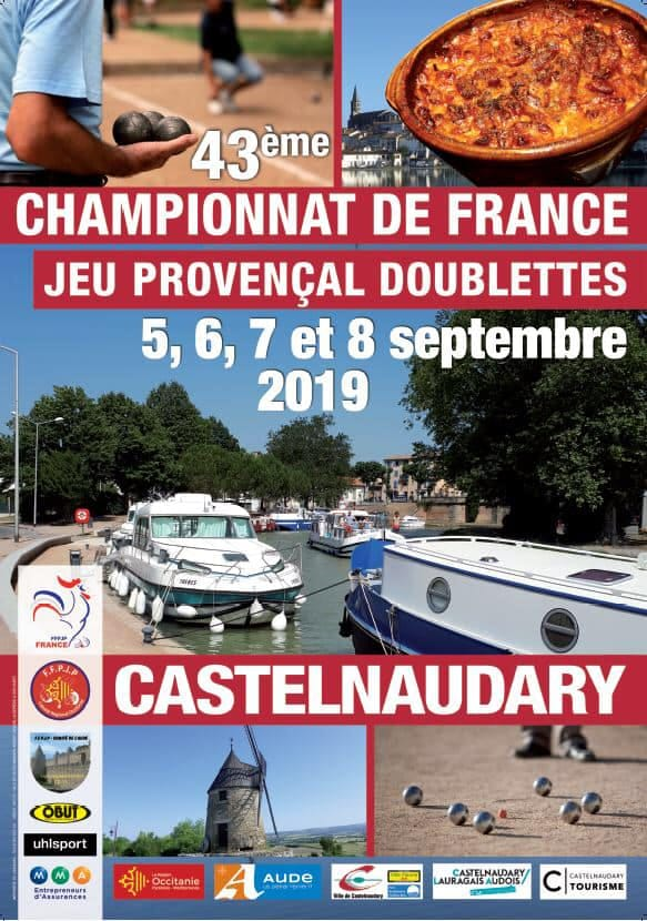 Championnat de France Doublettes les 5, 6, 7 et 8 Septembre