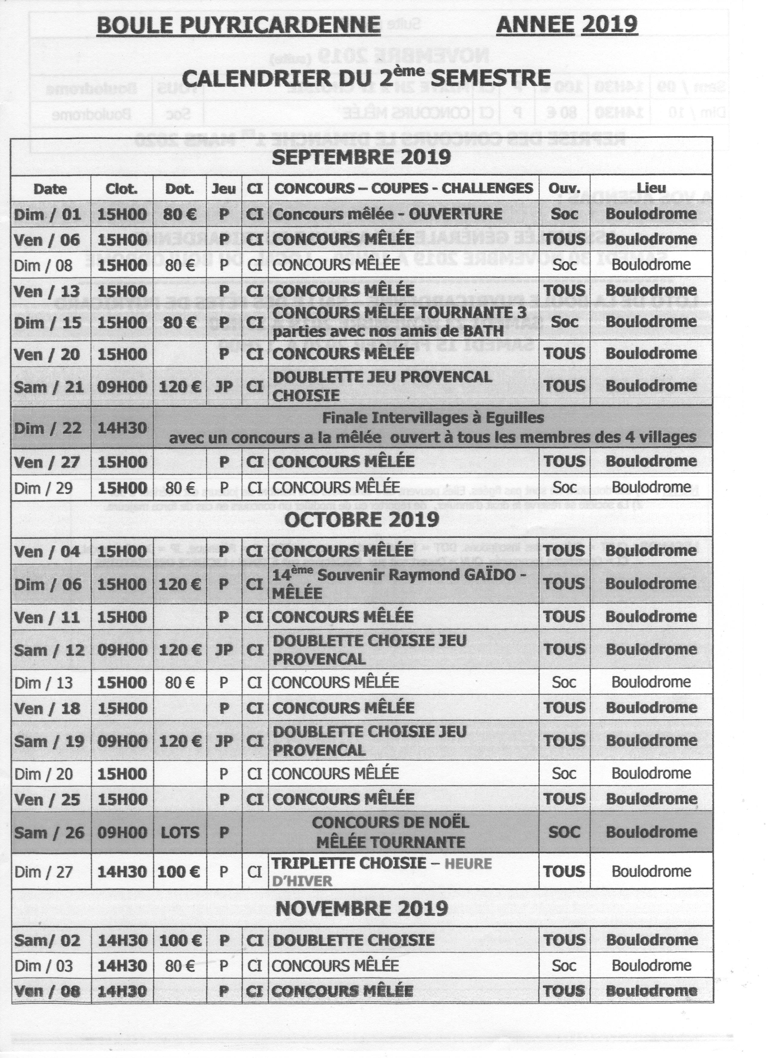 Calendrier 2019 2eme Semestre.Puyricard Calendrier 2eme Semestre 2019