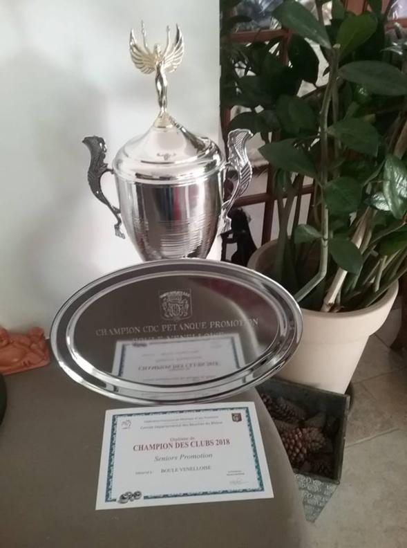 """La Boule Venelloise championne des clubs à pétanque """"Promotion""""  2018"""