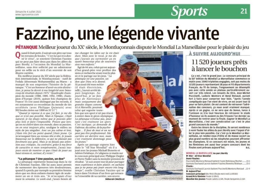 """Article """"La Provence"""" du 4 juillet 2021"""