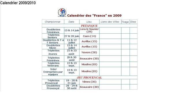 Calendrier 2009 des championnats de france