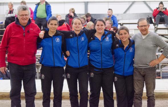 (merci MARC pour la photo)équipe de france espoir championne d'europe 18 octobre 2015 a nieuwegein (audrey BANDIERA- anais LAPOUTGE- cindy PEYROT - alison RODRIGUEZ