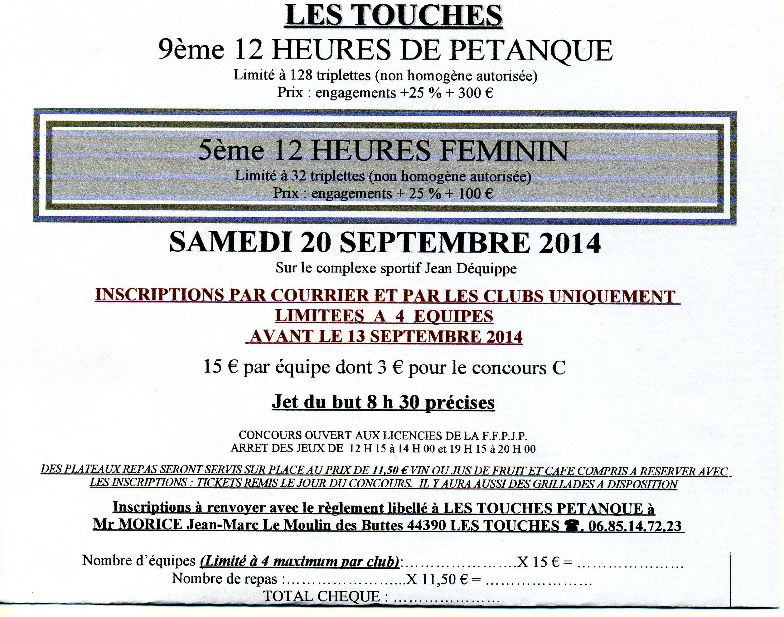 12 HEURES FEMININ et MASCULIN
