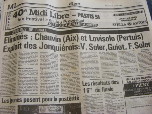 Coupure de Presse Midi Libre 1984  tirée de mes archives !