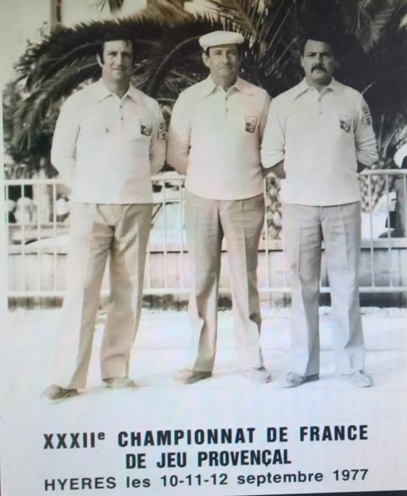 Vincent SOLER, François SOLER et Roger GUIOT au Championnat de France à Hyères en 1977 sous les couleurs du Comité du Gard et de la Boule Jonquiéroise.