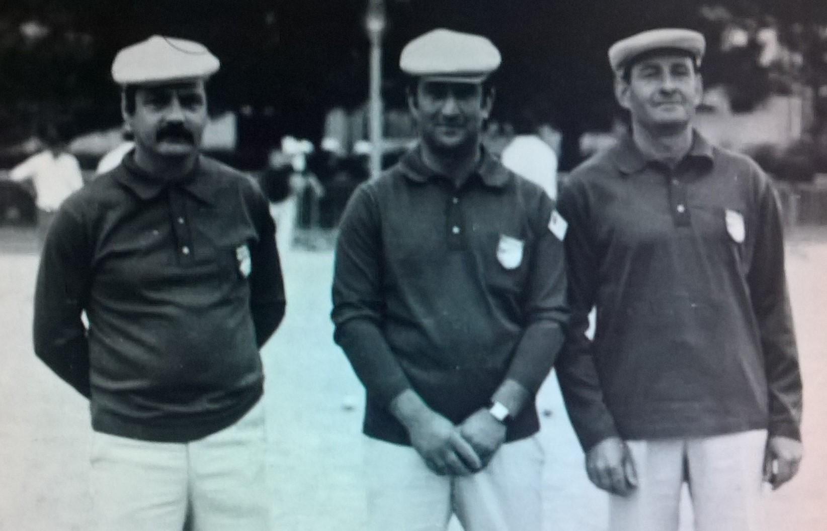 Roger GUIOT Vincent SOLER et François SOLER au stade Léo Lagrange pour leur premier Championnat de France en 1973 à Paris