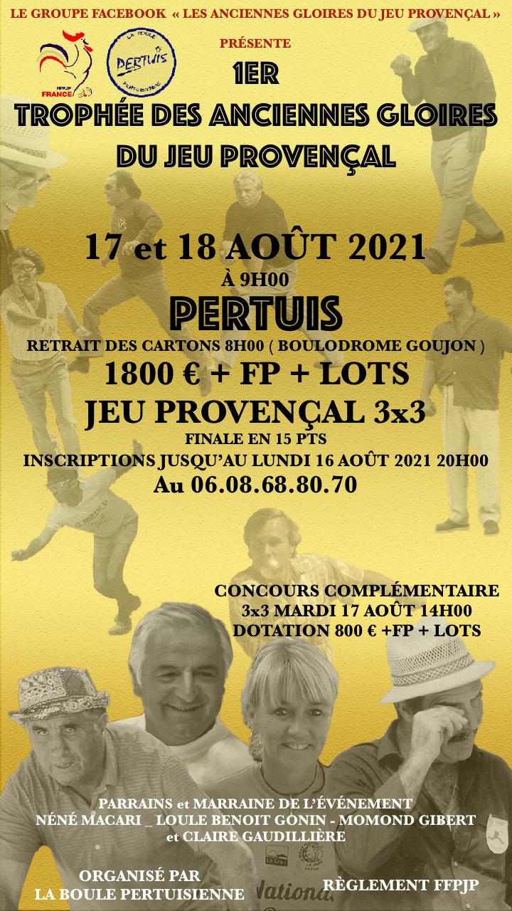 Affiche du 1er Trophée des Anciennes Gloires qui se déroulera à Pertuis où Claude est en bonne place en plein centre