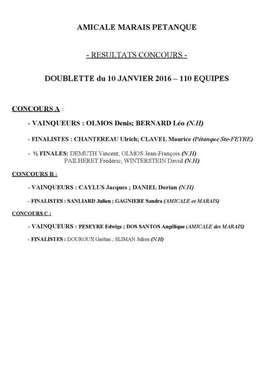 resultats concours