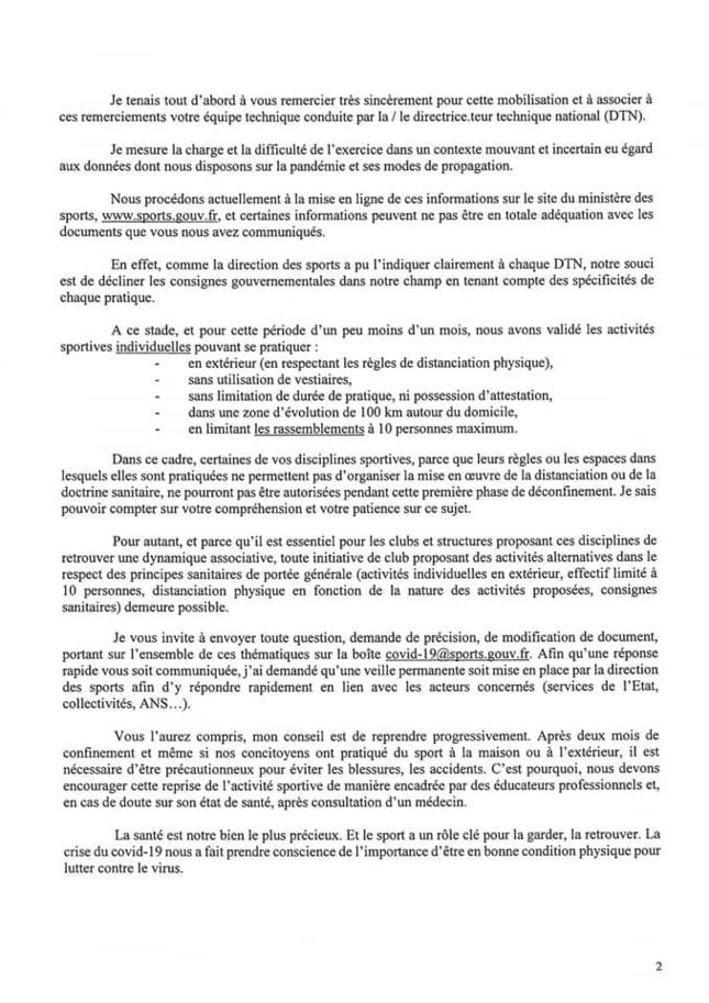 DIRECTIVE   DE LA   MINISTRE   DES   SPORTS.