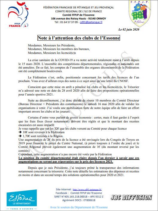 ARTICLE  DU 02 JUIN  CD.91