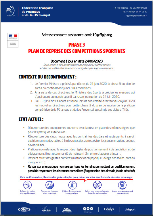 FFPJP   PLAN  DE  REPRISE  PHASE . 3