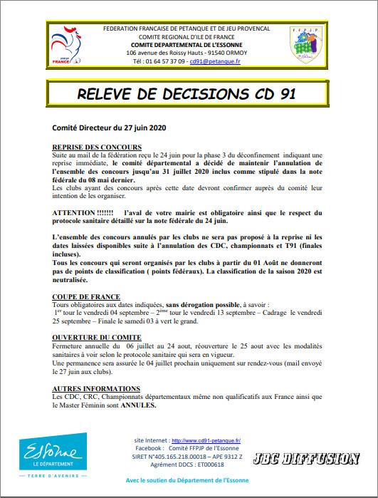 RELEVE  DE  DECISION  DU  CD.91  LE  27 JUIN