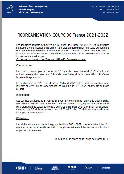 NOUVELLE  MESURE  COUPE  DE  FRANCE   2021