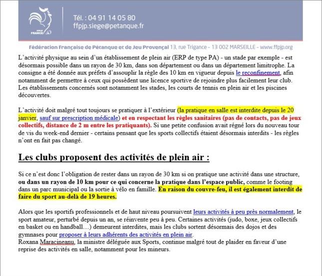 FFPJP   NOUVELLE  REGLE  DES 10 KM  ET 30 KM  SPORTS  AMATEURS